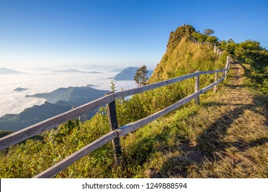 Sunrise at travel attractions Phu chee dao peak of mountain in Chiang rai,Thailand