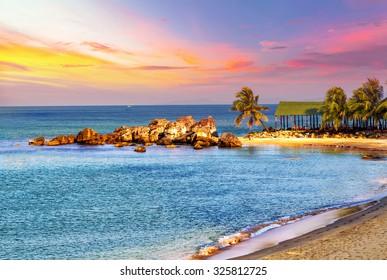 Sunrise Tropical landscape sea, granite rocky beaches on tropical sea. landscape summertime