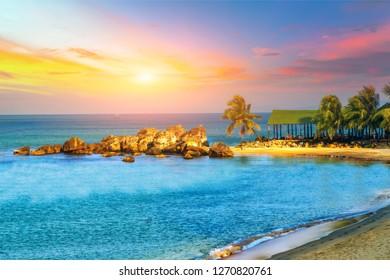 Sunrise Tropical landscape sea tropical palm trees beach Phu Quoc Island Vietnam travel