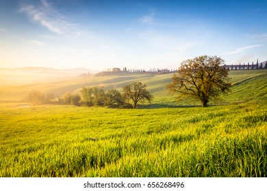 Sunrise in tuscan landscape in Orcia valley, Tuscany, Italy