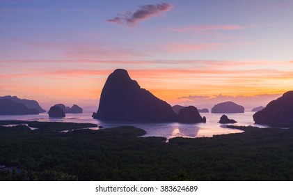 """Sunrise at unseen place """"Samed Nangshe"""" in Phang Nga province."""