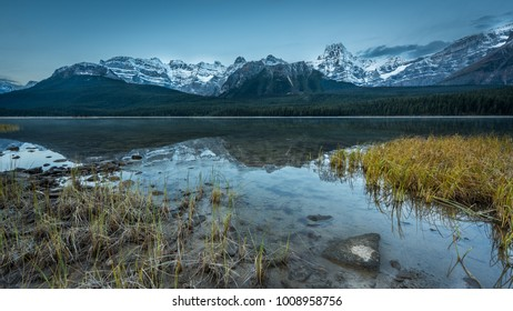 Sunrise at Upper Waterfowl Lake, Canadian Rocky Mountains, Alberta, Canada.