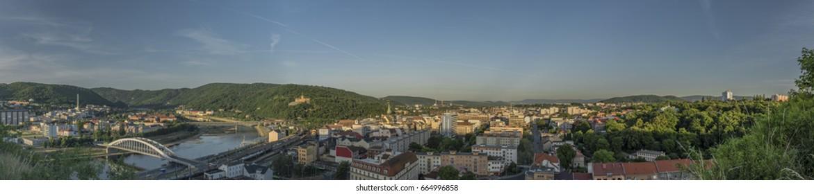 Sunrise in Usti nad Labem city from Marianska rock panorama view