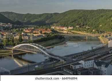 Sunrise in Usti nad Labem city from Marianska rock