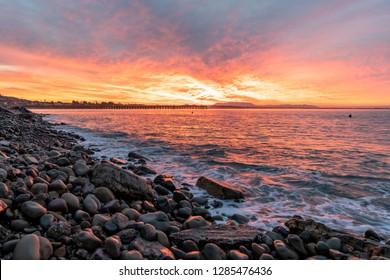 Sunrise at Ventura Pier in Ventura, California