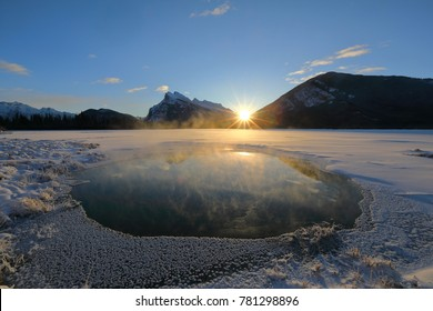 Sunrise at Vermillion Lakes Banff Canada on the Winter Solstice.  Temperature was -25C, a very cold morning before Christmas.