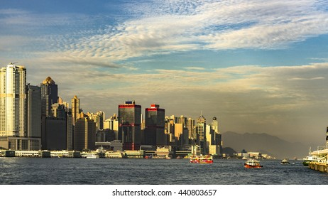 Sunrise at Victoria Harbour , Hong Kong