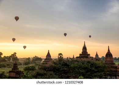 Sunrise view with Balloon and temples in Bagan, Myanmar