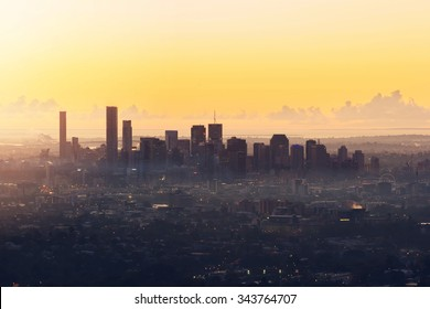 Sunrise View of the Brisbane City from Mount Coot-tha. Queensland, Australia.