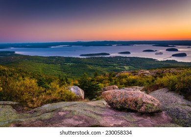 Sunrise view from Caddilac Mountain in Acadia National Park, Maine.