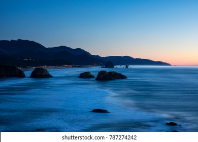 Sunrise view of Cannon Beach, Oregon, from Ecola State Park