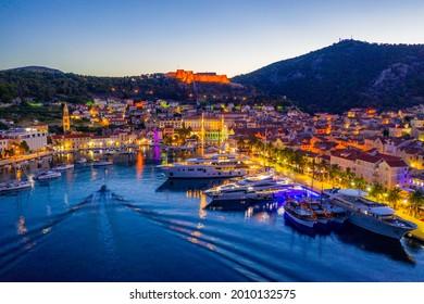 Sunrise view of Croatian town Hvar