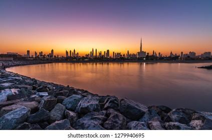 Sunrise View of the Dubai Skyline from La Mer Beach.