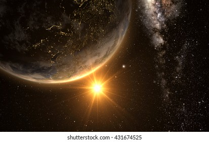 sunrise view of earth from space with milky way galaxy, 3d rendering. Elements of this image furnished by NASA