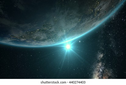 sunrise view of earth from space with milky way galaxy, 3d render. Elements of this image furnished by NASA