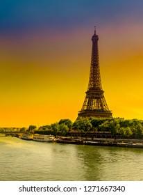 Sunrise view of Eiffel tower from Pond Bif Haikem and Seine river in Paris, France. Vertical postcard of Paris