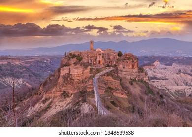 Sunrise view of famous Civita di Bagnoregio the dying city. Lazio, Italy