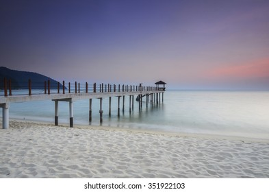 Sunrise view at fisherman jetty . Vibrant colour.