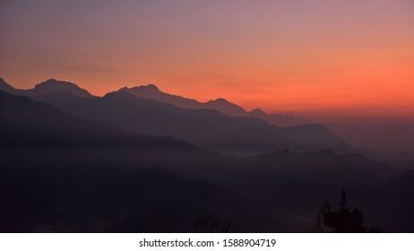 Sunrise view of Himalaya mountain ranges from Sarangkot in Nepal