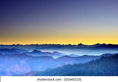 sunrise view at Kufri , Shimla
