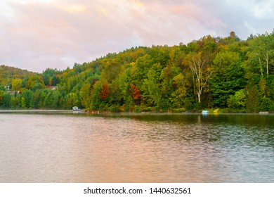 Sunrise view of the Lac Rond lake, in Sainte-Adele, Laurentian Mountains, Quebec, Canada