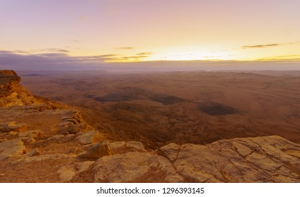 Sunrise view of Makhtesh (crater) Ramon, in the Negev Desert, Southern Israel. It is a geological landform of a large erosion cirque