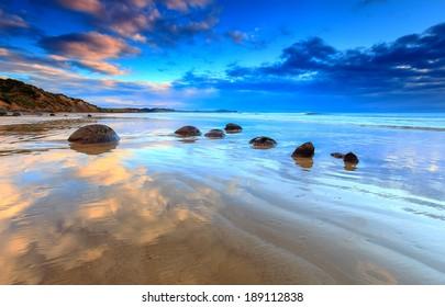 Sunrise view at Moeraki Boulders beach, New Zealand