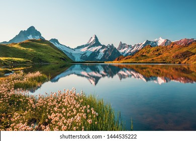 Sunrise view on Bernese range above Bachalpsee lake. Highest peaks Eiger, Jungfrau and Faulhorn in famous location. Switzerland alps, Grindelwald valley