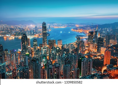 Sunrise view on Hong Kong city from the Victoria peak, China