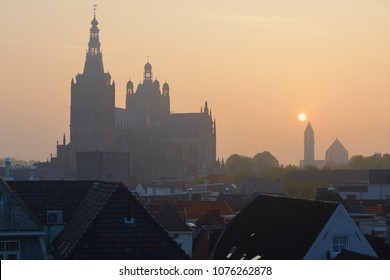 Sunrise view on the late Gothic St. Johns Cathedral in the city of 's-Hertogenbosch, province of Noord-Brabant, the Netherlands