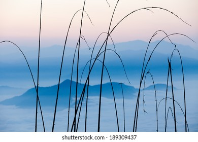 Sunrise view on misty blue cloudy Himalaya mountains