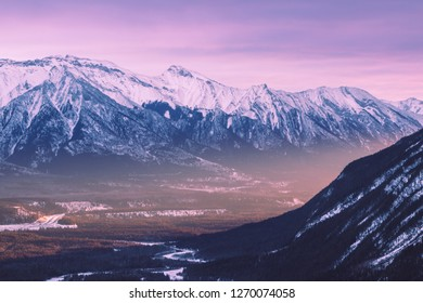 Sunrise view over the Mt Rundle from the Tunnel Mountain, Banff National Park, Alberta, Canada, Rocky Mountains, Canadian Rockies, winter