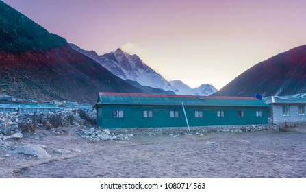 Sunrise View over one of the summit at Hilmalayas at Dingboche Village. Soft Focus due to Long Exposure Shot