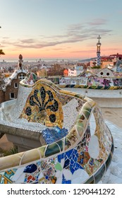 Sunrise view of the Park Guell designed by Antoni Gaudi, Barcelona, Spain.