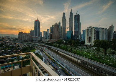 Sunrise view of PETRONAS Twin Towers of Malaysia. An iconic landmark in Malaysia. Photo was taken on April 10th, 2017.
