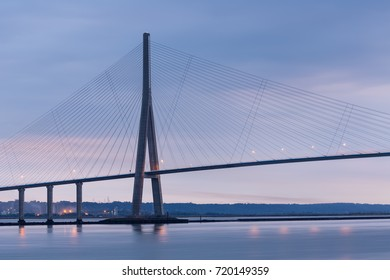 Sunrise view at Pont de Normandie, bridge over river Seine between Le Havre and Honfleur in France