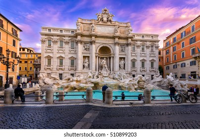 Sunrise view of Rome Trevi Fountain (Fontana di Trevi) in Rome, Italy. Trevi is most famous fountain of Rome. Architecture and landmark of Rome. Postcard of Rome