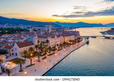Sunrise view of seaside of Croatian town Trogir