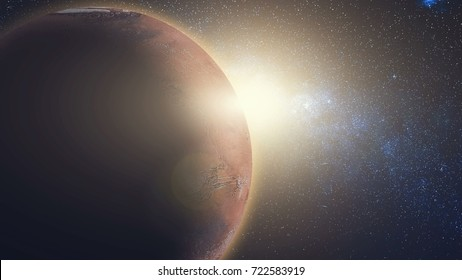 Sunrise view from space: Mars in sun beams. Red Planet close up with black universe of stars. High detail 3D Render animation. Abstract scientific background. Elements of this image furnished by NASA