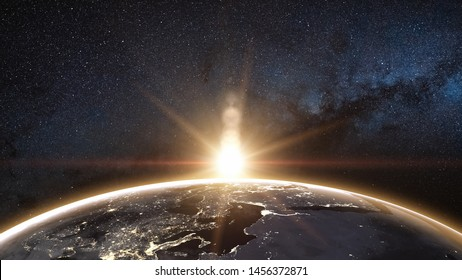 Sunrise view from space on Planet Earth. World rotating on its axis in black Universe in stars. Cities Lights at Night. High detailed 3D Render animation. Elements of this image furnished by NASA