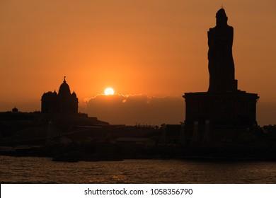 Sunrise view of Swami Vivekananda Memorial rock and thiruvalluvar island in Kanyakumari, India