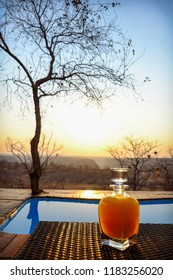 The sunrise view towards the Batoka Gorge from a glamping safari tent at Elephant Camp in Victoria Falls, Zimbabwe