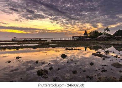Sunrise view of Turi beach during low tide