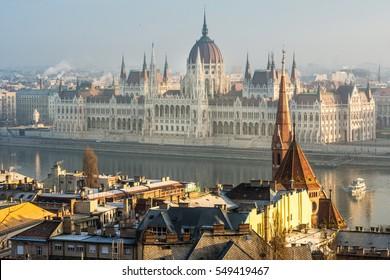 sunrise views to budapest parliament, hungary