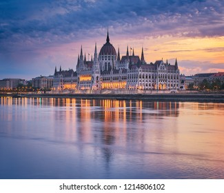Sunrise views over Hungarian Parliament in Budapest, Hungary
