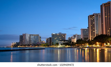 Sunrise of Waikiki beach skyline, Hawaii