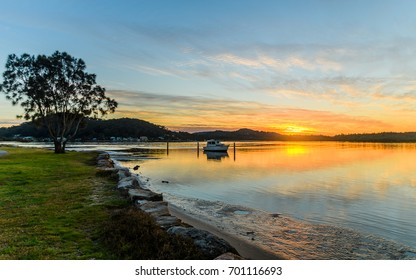 Sunrise Waterscape over the Bay - Taken at Woy Woy, NSW, Australia.