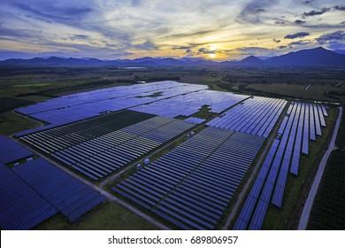 Sunrise when the solar photovoltaic