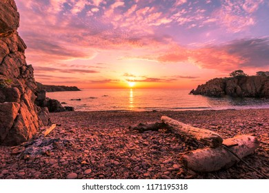 Sunrise in Wild Nudist Beach in Saint Raphael, France