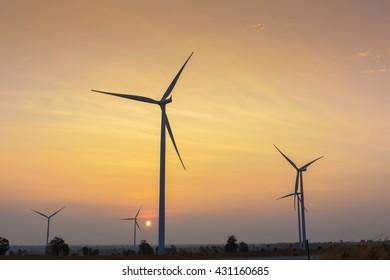 Sunrise at wind generator farm in Thailand